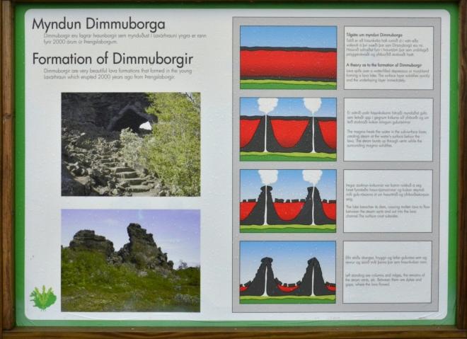 Vznik skalního města Dimmuborgir. Láva se před 2000 lety přelila přes jezero nebo bažiny. Magma pak zahřálo vodu pod ním, která musela unikat komíny ve formě páry. Komíny při tom zatuhly. Po nějakém čase z nějakého důvodu láva odtekla a zanechala po sobě jen komíny a zatuhlou horní vrstvu.