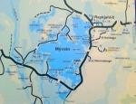 Mapa Mývatnu a okolí. Pseudokrátery Skútustaðagígar jsou dole na jihu pod číslem 4 a naše zbylé cíle u Mývatnu (Dimmuborgir, Hverfjall, Grjótagjá, Reykjahlíð i Hverir) vpravo.