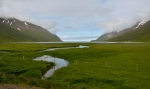 Neobydlená zátoka Héðinsfjörður mezi Ólafsfjörðurem a Siglufjörðurem