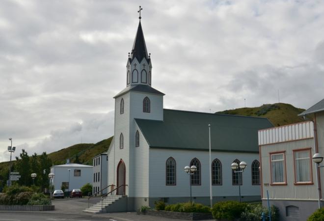 Kostelík v Sauðákrókuru, bohužel zavřený