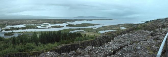 Panorama Þingvallavatnu, největšího jezera na Islandu