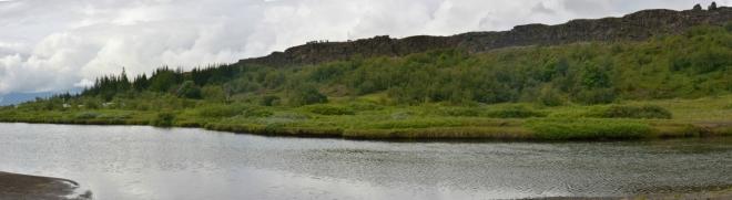 Ranní panorama Thingvelliru, levá část