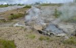I zde, podobně jako v Hveriru, se ze země všude kouří a jsou vidět horké louže. Nicméně u gejzíru není oranžový jíl a rostou tam i rostliny.