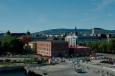Centrum Osla ze střechy Nové budovy Opery