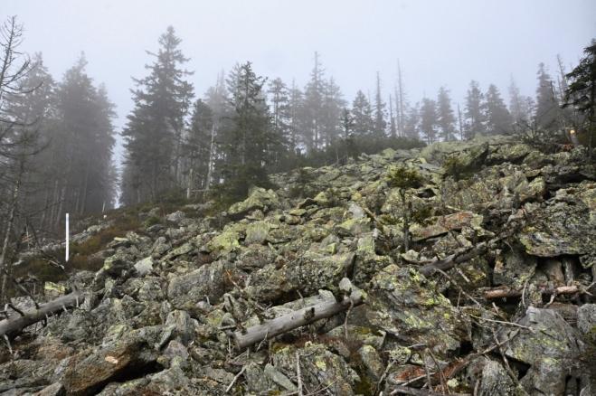 Kamenné moře je už těsně pod vrcholovým hřebenem.