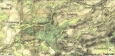 Stará mapa vykazuje německé názvy zaniklých obcí.