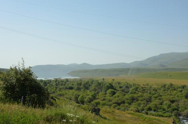 Řeka Vorotan (či spíše okolní zeleň) a okraj přehrady Spandaryan, jež je součástí hydroenergetické a zavlažovací kaskády na této řece. Za chvíli nám silnici zatarasí další stádo krav, později pak ještě ohromné stádo ovcí v čele s oslem.