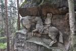 Kopicova práce trvala téměř 40 let (1940 až 1978) a za tu dobu vzniklo přes 30 reliéfů postav, zvířat či průčelí staveb, často doplněných o citáty či poselství.