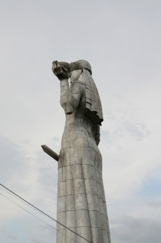 V levé ruce drží Matka nádobu s vínem a v pravé meč. Víno je pro příchozí přátele a meč na příchozí nepřátele, což má symbolizovat charakter gruzínského národa.