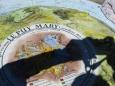 Desky na Puy Mary, na SZ by mohl být vidět Mont Blanc