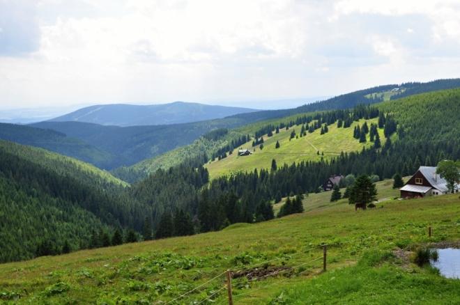Pohled zpět k Přední Planině a na vzdálený Žalý.