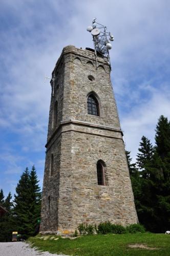 Rozhledna Žalý. Původně na tomto místě stávala jednoduchá dřevěná stavba sloužící k vyměřování a signalizaci. Poté zde byla postavena železná vyhlídková konstrukce, která musela být zbourána. V roce 1892 nechal Jan Harrach postavit 18 metrů vysokou kamennou rozhlednu. Z věže je kouzelný výhled na Podkrkonoší, pásmo Krkonoš, vrcholové partie Jizerských hor, Ještěd nebo Trosky. Při dobré viditelnosti lze zahlédnout i Kralický Sněžník. (Mapy.cz)