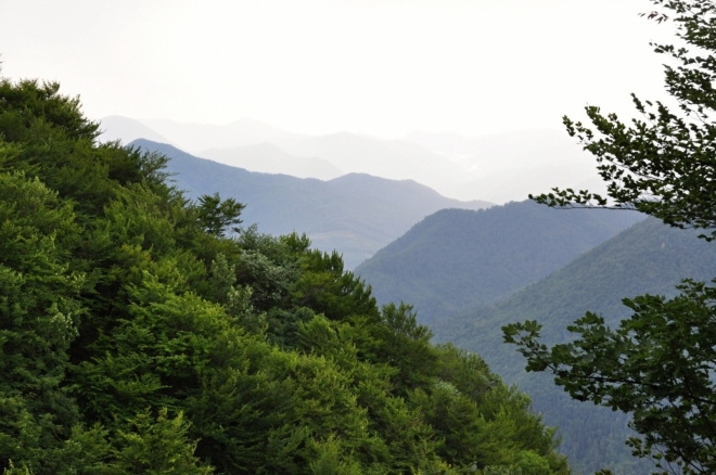 Déšť vymazal vzdálenější vrcholy z našeho dohledu.