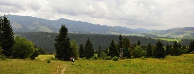 Po sestupu se otevřou výhledy k Roháčům. Dominuje blízká Osobitá a Sivý vrch.