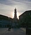 Pomník svaté trojice v západu slunce