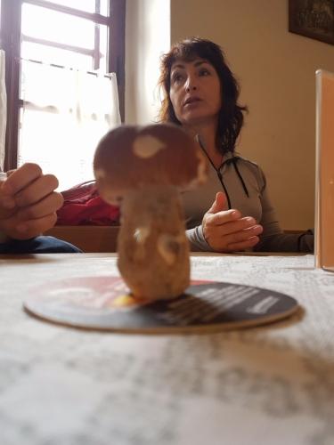 Hřib nás motivuje, v restauraci Lötzl si dáváme výbornou bramboračku.