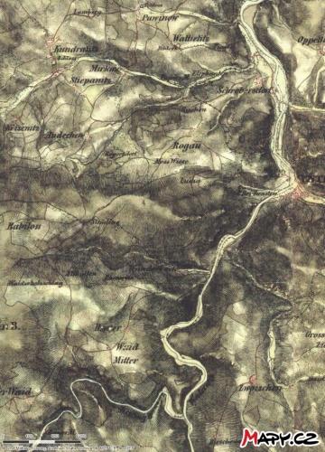 Historická mapa Rejštejnska.