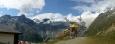 Hory tyčící se nad Saas Fee