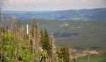 Vysoký jehlan ční nad zničeným horským pralesem.