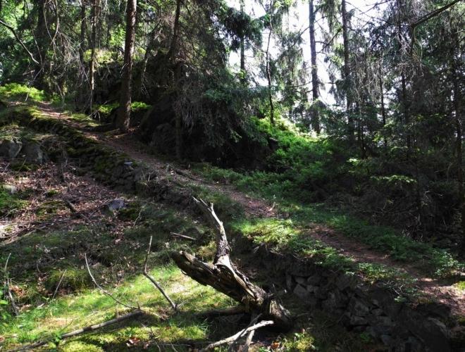 Na jednu ze skal vede kamenný chodníček.