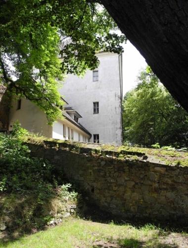Zámek Rožmitál pod Třemšínem tvoří trojkřídlá budova. Z původního hradu z 13. století se dochovala hranolová věž se vstupní bránou. Věž má na třech stranách arkýře a okna s pozdně gotickým ostěním.  Hrad vlastnil od 16. století Zdeněk Lev z Rožmitálu, který nechal postavit hlavní zámeckou budovu. Zámek není veřejnosti přístupný.