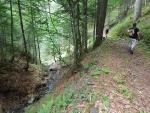 Serpentiny skončily, jdeme stezkou nad potokem Giou de i Penize.