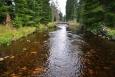 Znovu přecházíme potok u Mlynářských slatí...