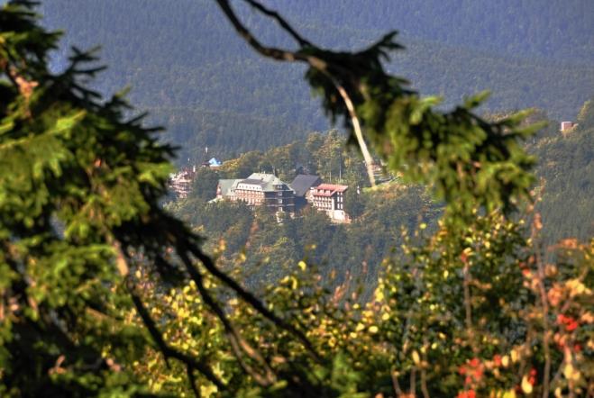 Průhled od stezky na Čertovův mlýn mezi stromy odhalil hotel Tanečnica.