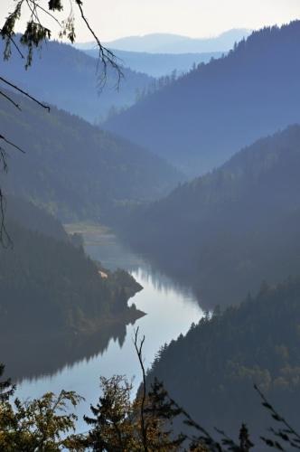 Boční rameno přehrady Šance vytvořilo údolí Řečice.
