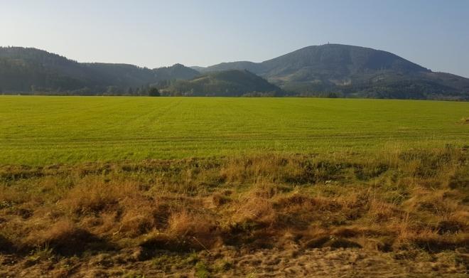 Pohled na Velký Javorník z vlaku do Mořkova.