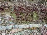 Zvláštní geologické vrstvy jsou dobře vidět na odhaleném svahu nad cestou.