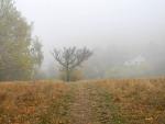 Nová Ves ponořená do husté mlhy.