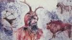 Šaman s pravěkými zvířaty mohl být na stěně jeskyně vyobrazen právě takto.