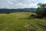 Pohled od Runiny k hraničnímu hřebenu Bukovských vrchů.
