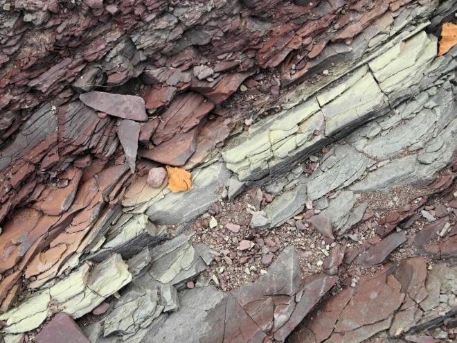 Pestré barvy vodou obnaženého podloží.