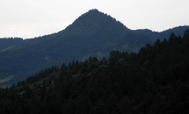 Nowa Góra je pieninský polský vrchol. Zítra kolem něho budeme putovat.