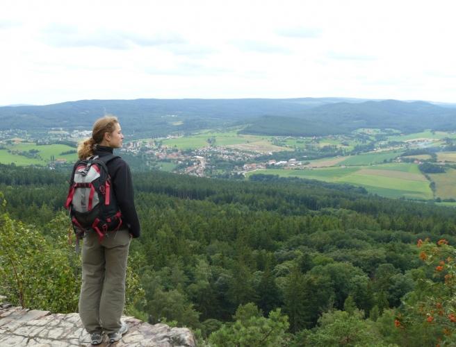 Poblíž vrcholu je taková malá skála, z níž je krásný rozhled na Brdy a vesničku Jince v údolí.