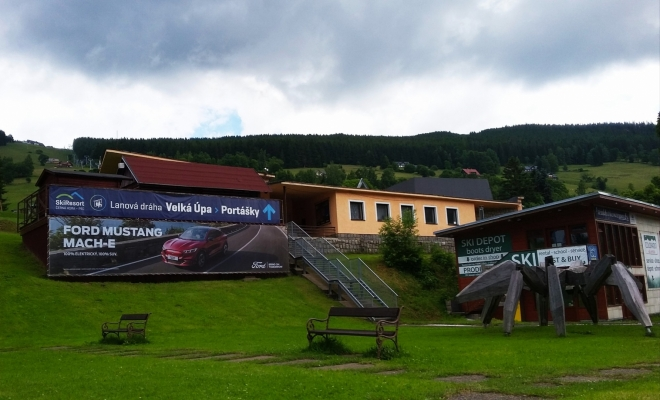 Dolní část lanovky Velká Úpa - Portášky.